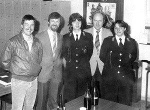 Besuch bei der Vigili Urbani 1982, heute nennt sich die Stadtpolizei Polizia Locale und die junge Kollegin in der Bildmitte ist heute die Polizeichefin von Bassano.